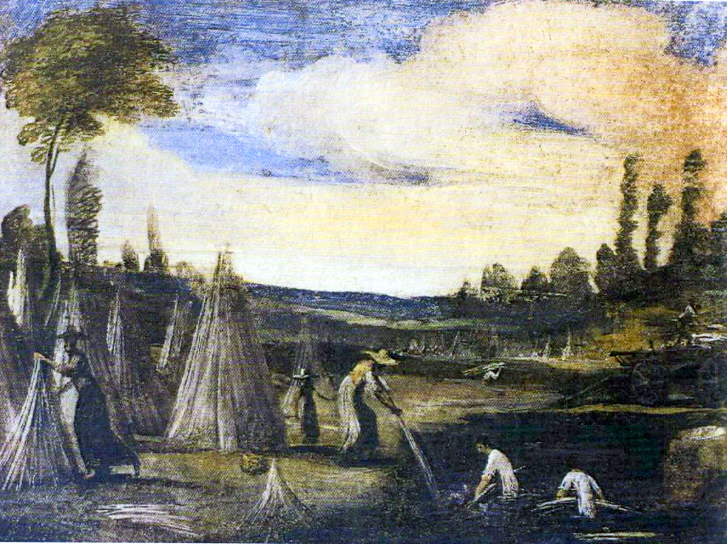 Bottega del Guercino, Estrazione della canapa dal macero, 1615-17; affresco trasportato su tela, cm 72 x 108. Cento, Pinacoteca Civica.