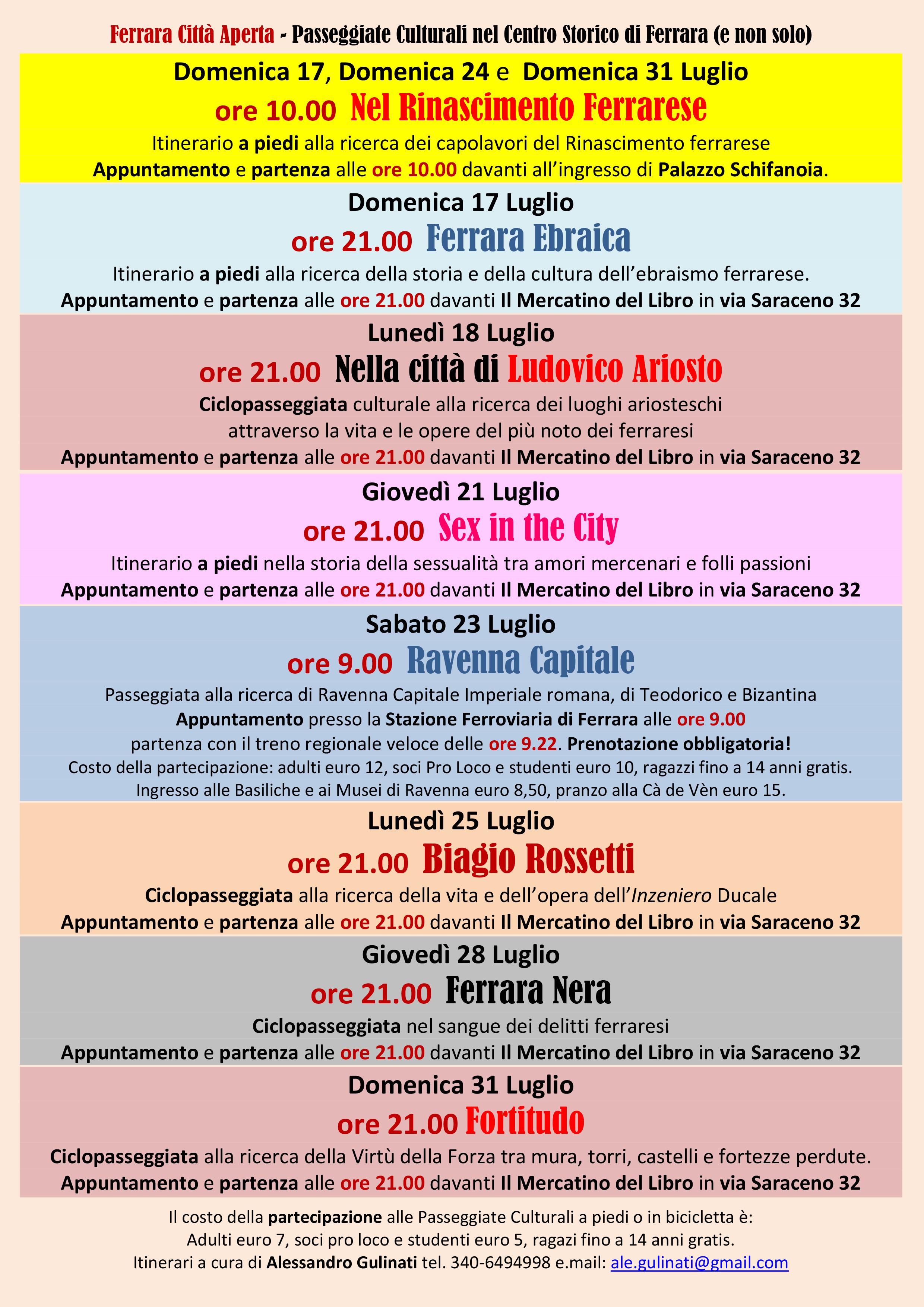 Programma Passeggiate Culturali Luglio 2016