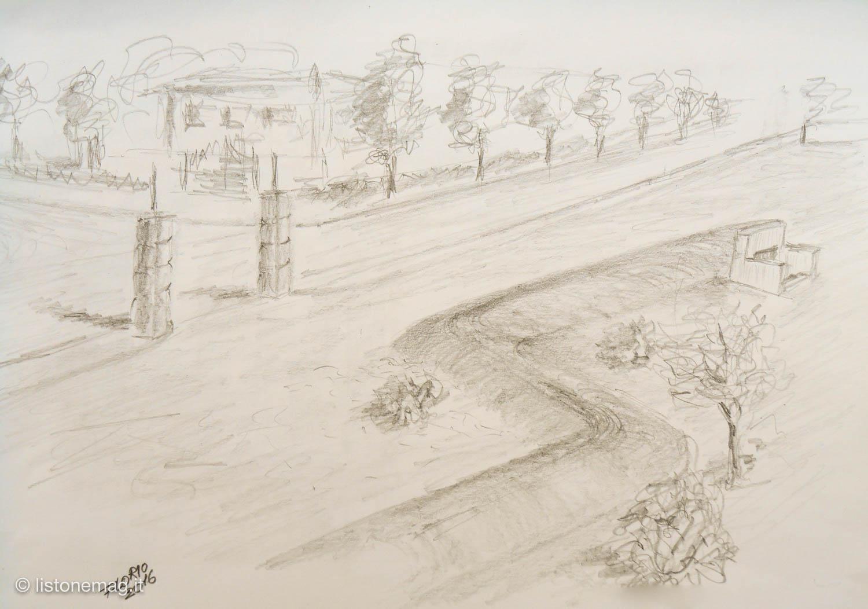 Il Parco Fiera, negli anni '40 - disegno di Florio Piva