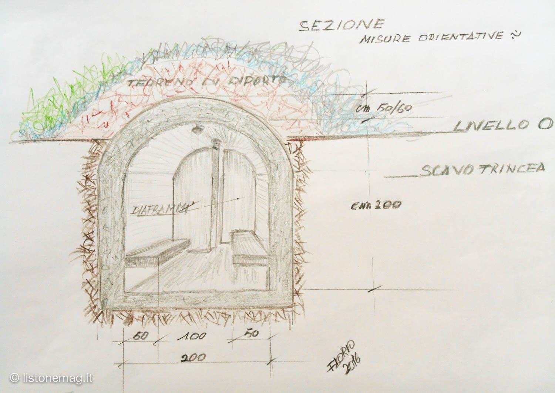 Sezione del rifugio - disegno di Florio Piva
