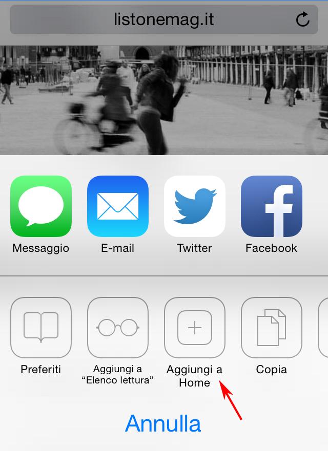 La schermata per salvare un'icona di Listone Mag su iPhone