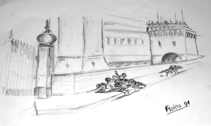 Disegno di Florio Piva, ricordo della mattina del 17 novembre 1943, mentre andava a scuola bambino