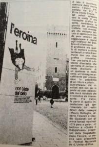 """Campagna informativa contro le dipendenze, """"L'eroina non cade dal cielo""""; foto da """"Porto Ferrara"""", n.8, 1982"""