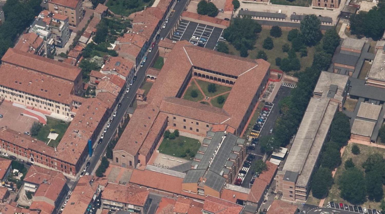 Il chiostro di via Mortara 70, dall'alto - da Bing Maps